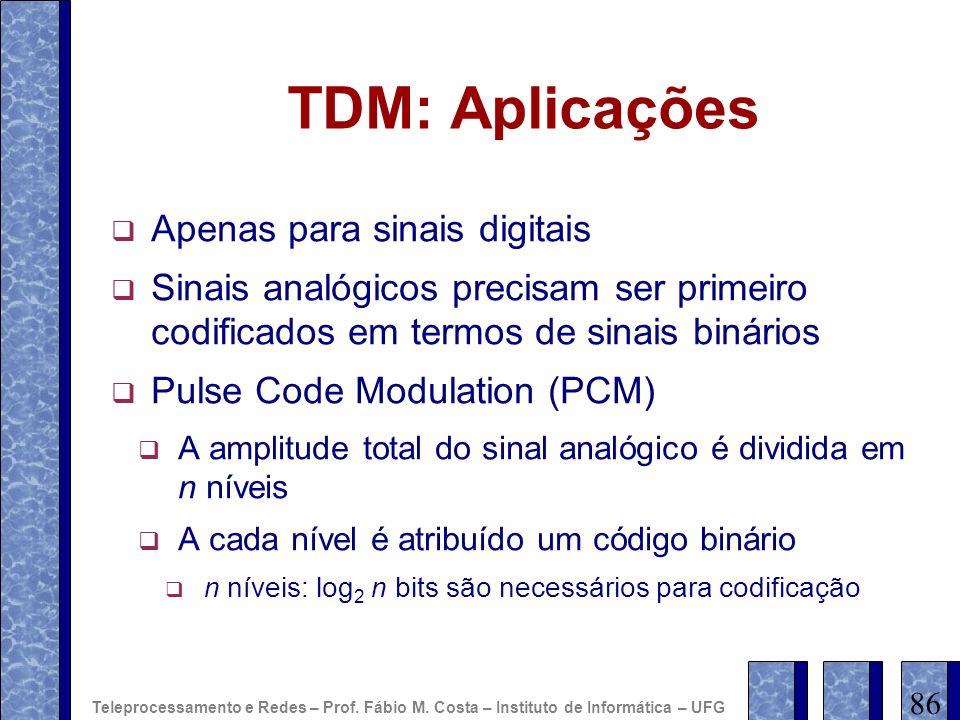TDM: Aplicações Apenas para sinais digitais
