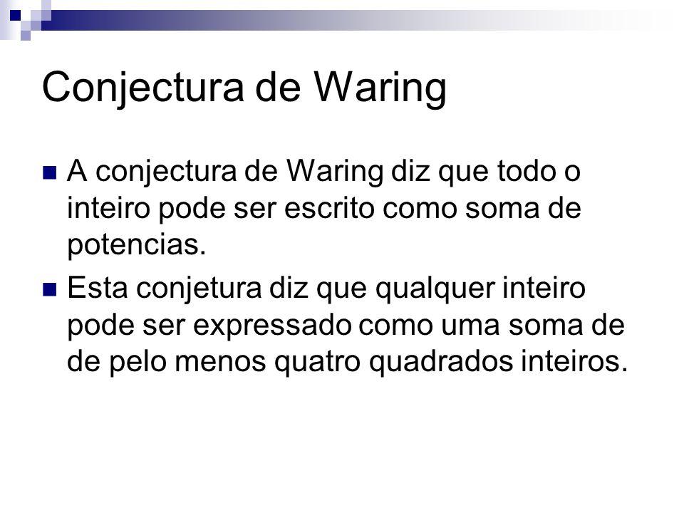 Conjectura de Waring A conjectura de Waring diz que todo o inteiro pode ser escrito como soma de potencias.