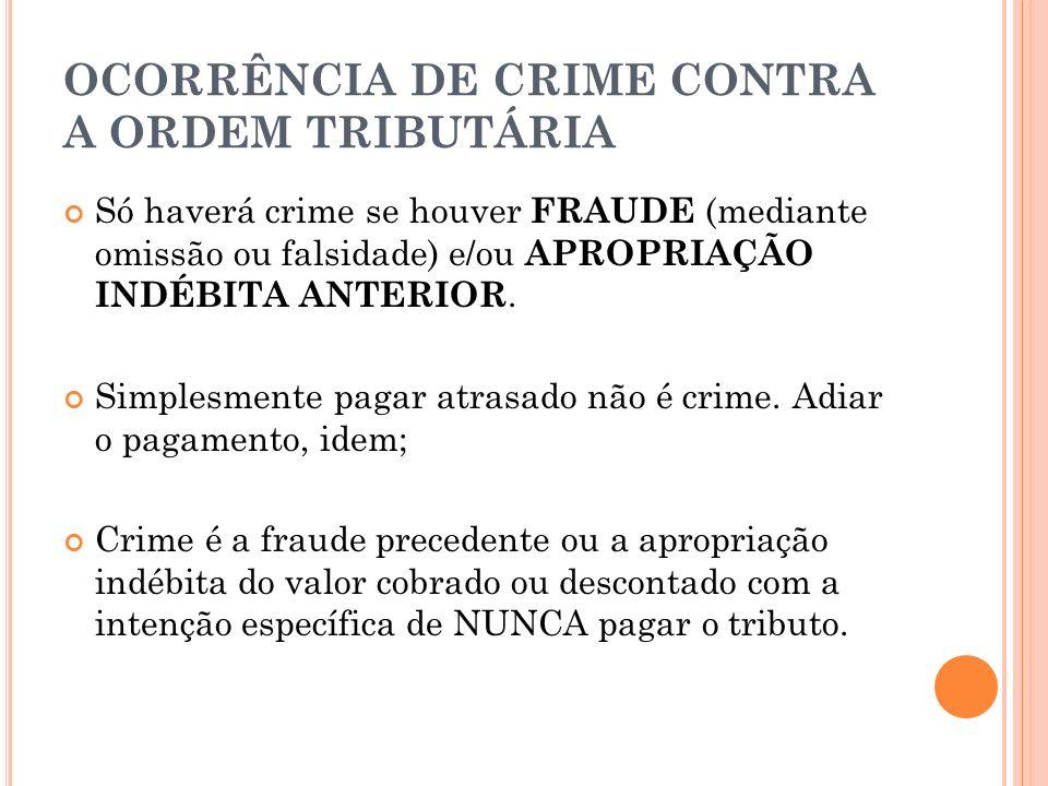 OCORRÊNCIA DE CRIME CONTRA A ORDEM TRIBUTÁRIA