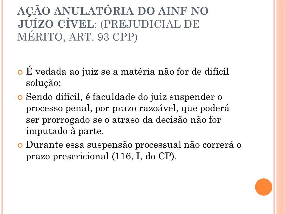 AÇÃO ANULATÓRIA DO AINF NO JUÍZO CÍVEL: (PREJUDICIAL DE MÉRITO, ART