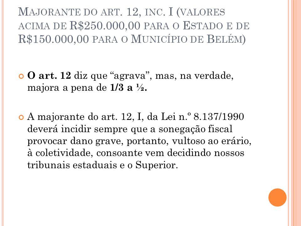 Majorante do art. 12, inc. I (valores acima de R$250