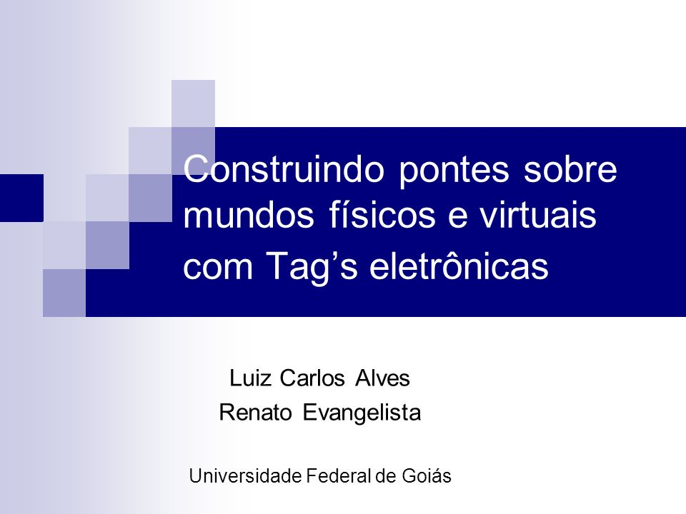 Luiz Carlos Alves Renato Evangelista Universidade Federal de Goiás