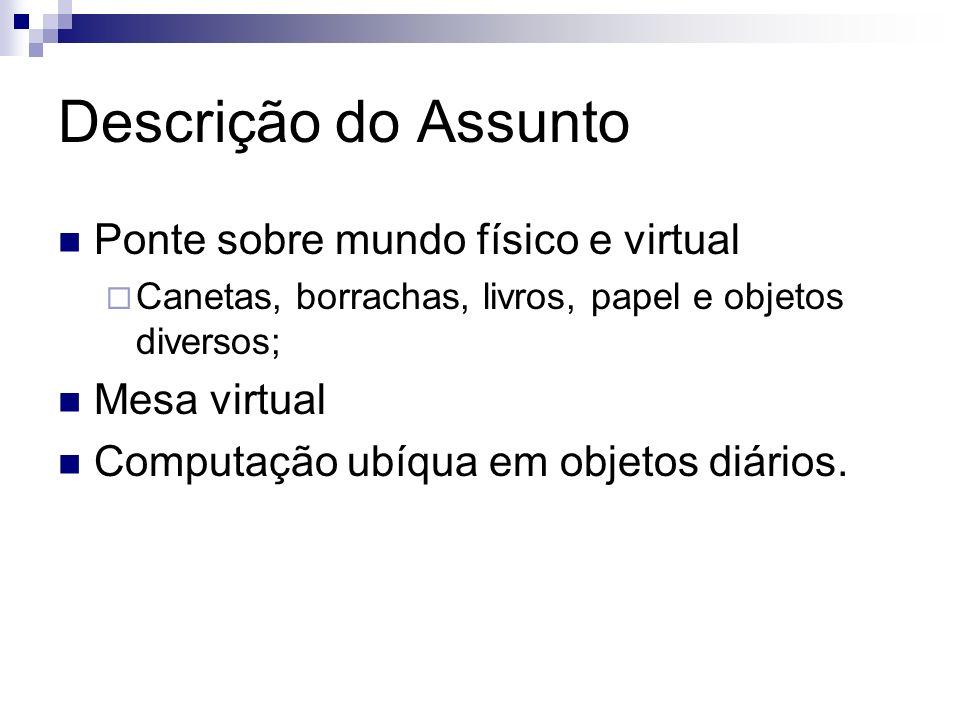 Descrição do Assunto Ponte sobre mundo físico e virtual Mesa virtual