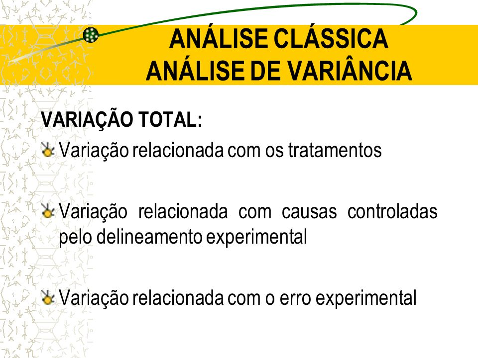 ANÁLISE CLÁSSICA ANÁLISE DE VARIÂNCIA