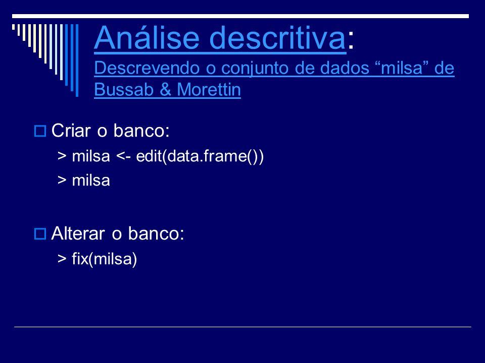 Análise descritiva: Descrevendo o conjunto de dados milsa de Bussab & Morettin