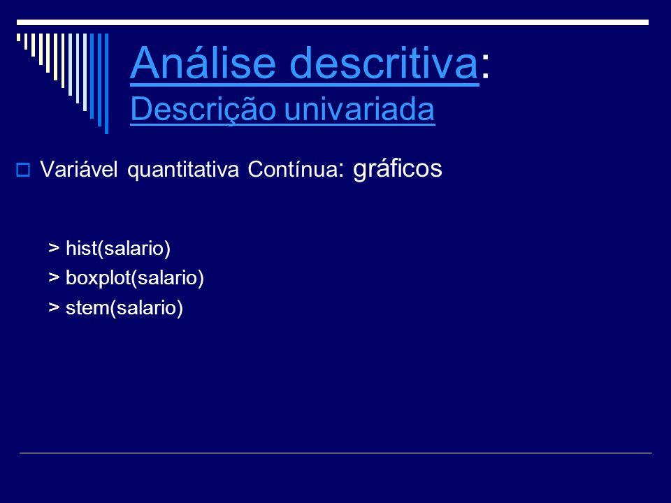 Análise descritiva: Descrição univariada