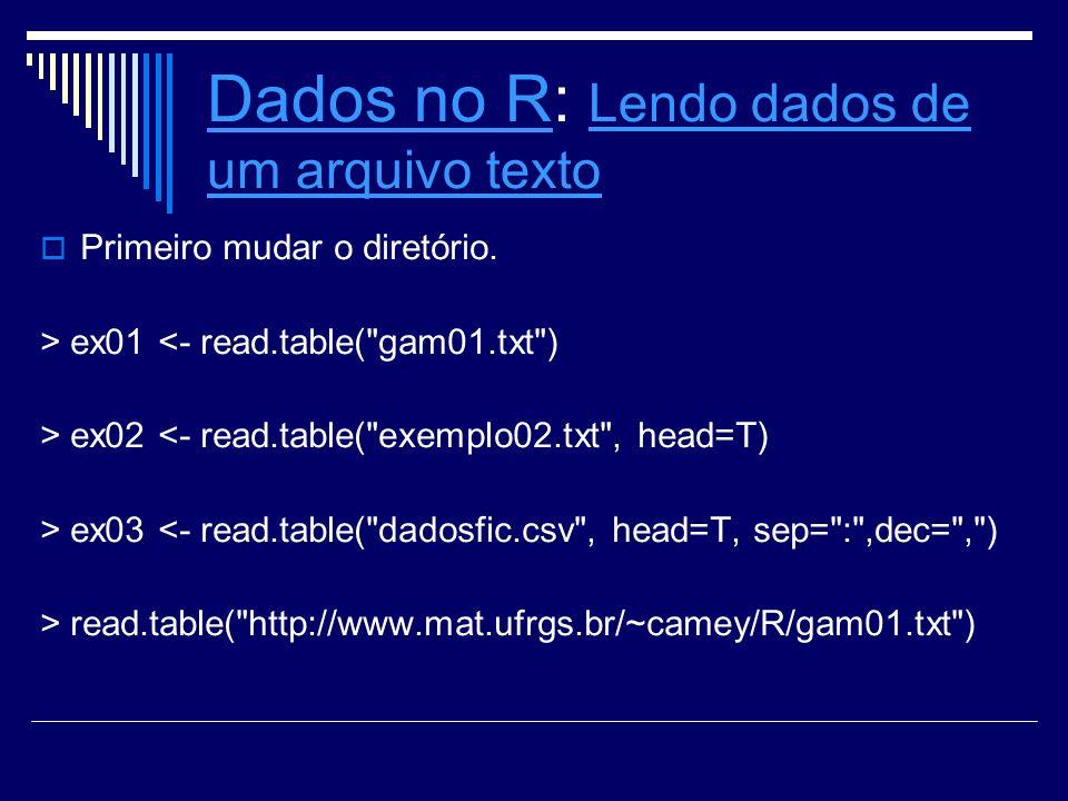 Dados no R: Lendo dados de um arquivo texto