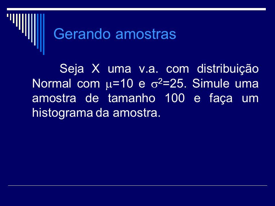 Gerando amostras Seja X uma v.a. com distribuição Normal com =10 e 2=25.