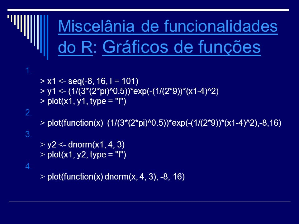 Miscelânia de funcionalidades do R: Gráficos de funções