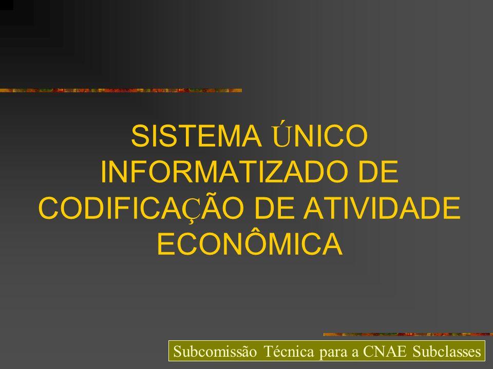 SISTEMA ÚNICO INFORMATIZADO DE CODIFICAÇÃO DE ATIVIDADE ECONÔMICA