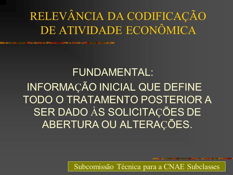 RELEVÂNCIA DA CODIFICAÇÃO DE ATIVIDADE ECONÔMICA