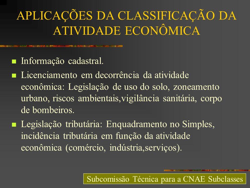 APLICAÇÕES DA CLASSIFICAÇÃO DA ATIVIDADE ECONÔMICA