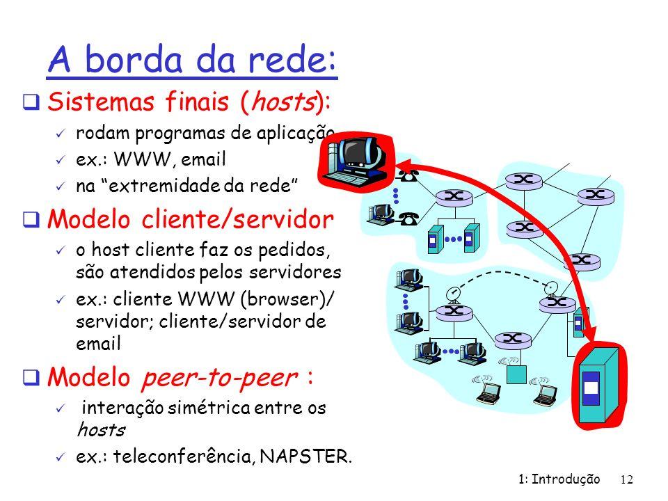 A borda da rede: Sistemas finais (hosts): Modelo cliente/servidor