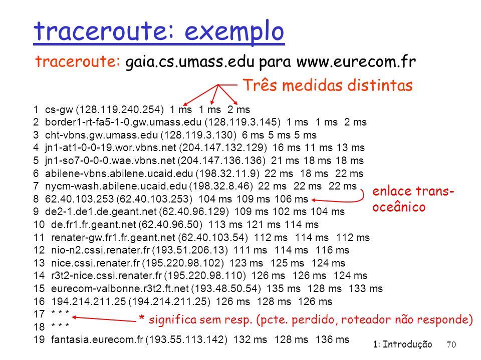 traceroute: exemplo traceroute: gaia.cs.umass.edu para www.eurecom.fr
