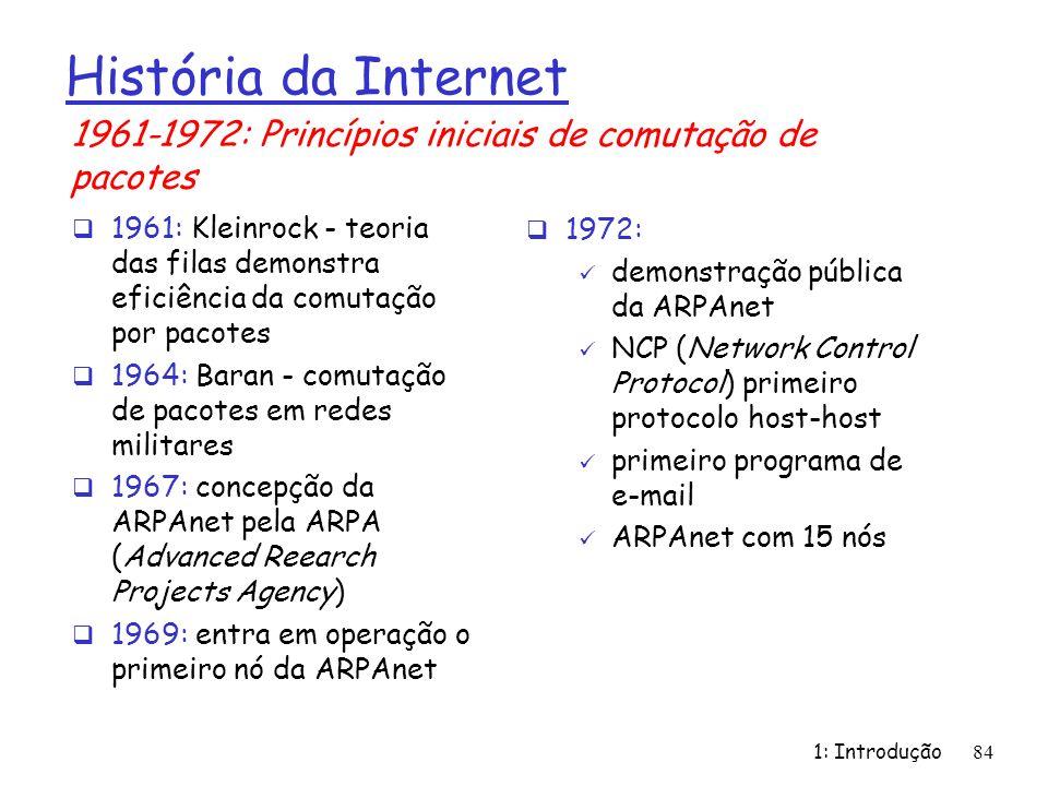 História da Internet1961-1972: Princípios iniciais de comutação de pacotes.