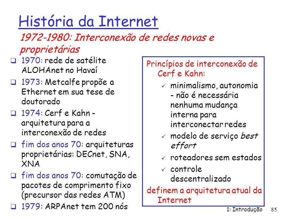 História da Internet1972-1980: Interconexão de redes novas e proprietárias. 1970: rede de satélite ALOHAnet no Havaí.