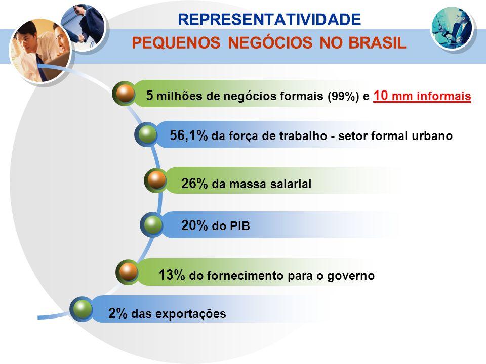 REPRESENTATIVIDADE PEQUENOS NEGÓCIOS NO BRASIL