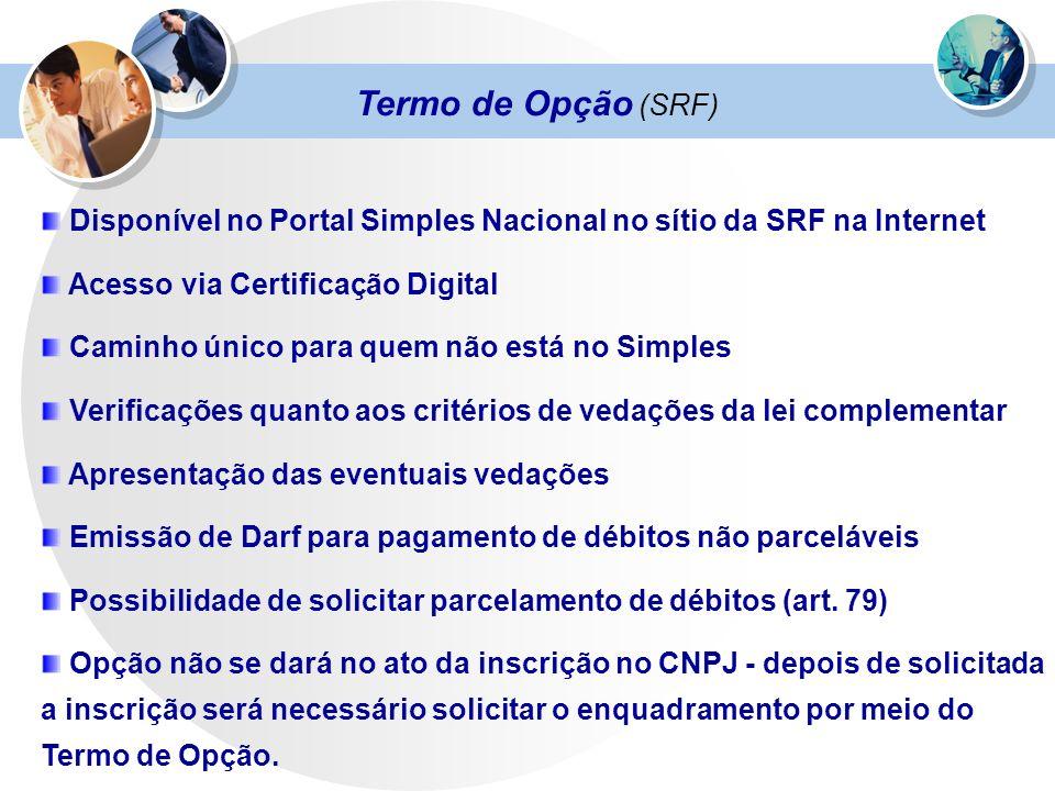 Termo de Opção (SRF) Disponível no Portal Simples Nacional no sítio da SRF na Internet. Acesso via Certificação Digital.