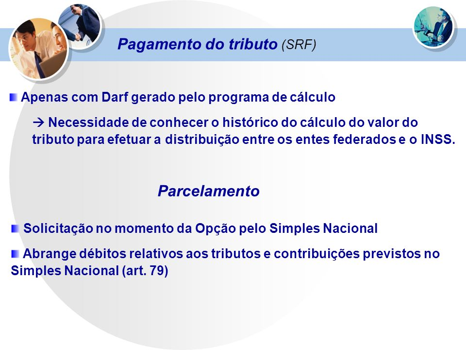 Pagamento do tributo (SRF)