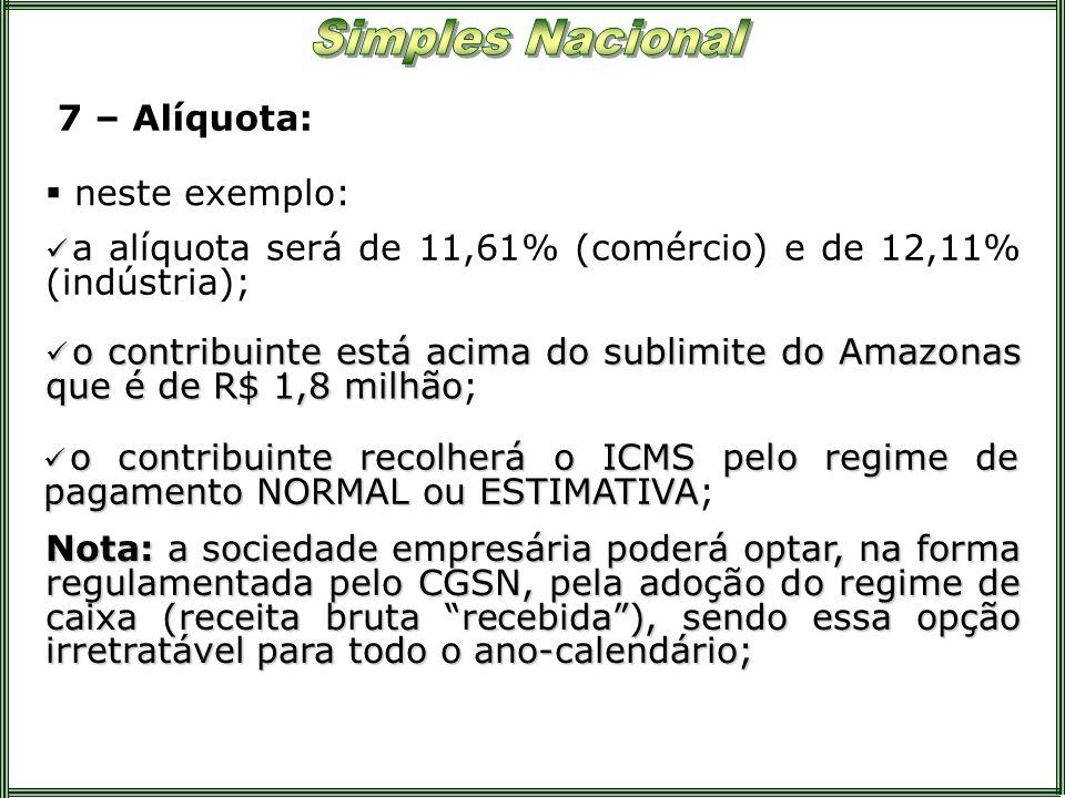 7 – Alíquota:neste exemplo: a alíquota será de 11,61% (comércio) e de 12,11% (indústria);