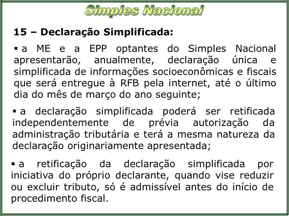 15 – Declaração Simplificada: