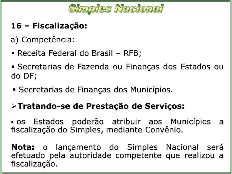 16 – Fiscalização:a) Competência: Receita Federal do Brasil – RFB; Secretarias de Fazenda ou Finanças dos Estados ou do DF;