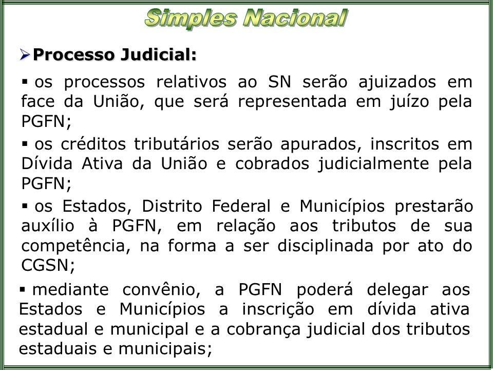 Processo Judicial:os processos relativos ao SN serão ajuizados em face da União, que será representada em juízo pela PGFN;