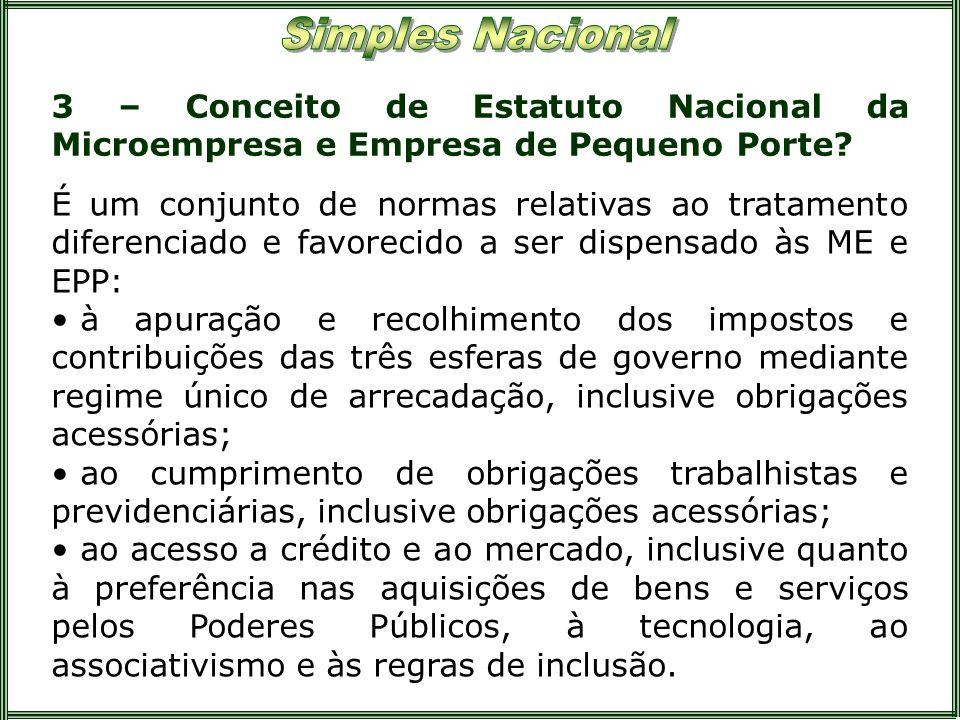 3 – Conceito de Estatuto Nacional da Microempresa e Empresa de Pequeno Porte