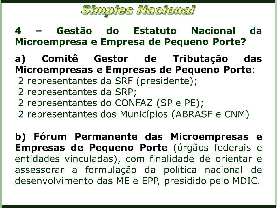 4 – Gestão do Estatuto Nacional da Microempresa e Empresa de Pequeno Porte