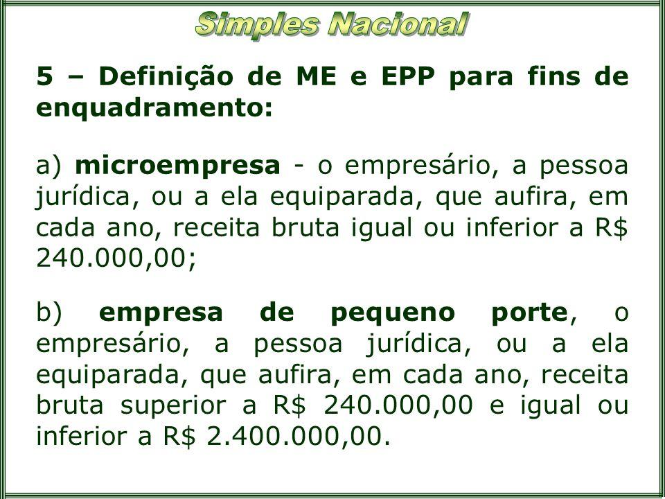 5 – Definição de ME e EPP para fins de enquadramento: