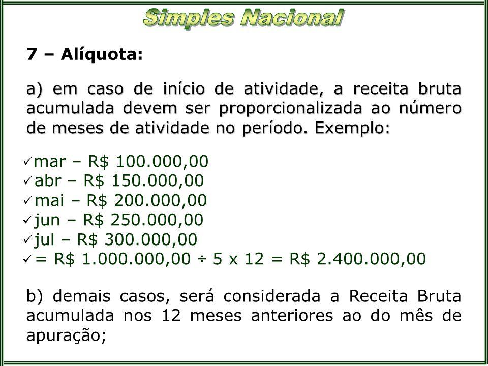 7 – Alíquota: