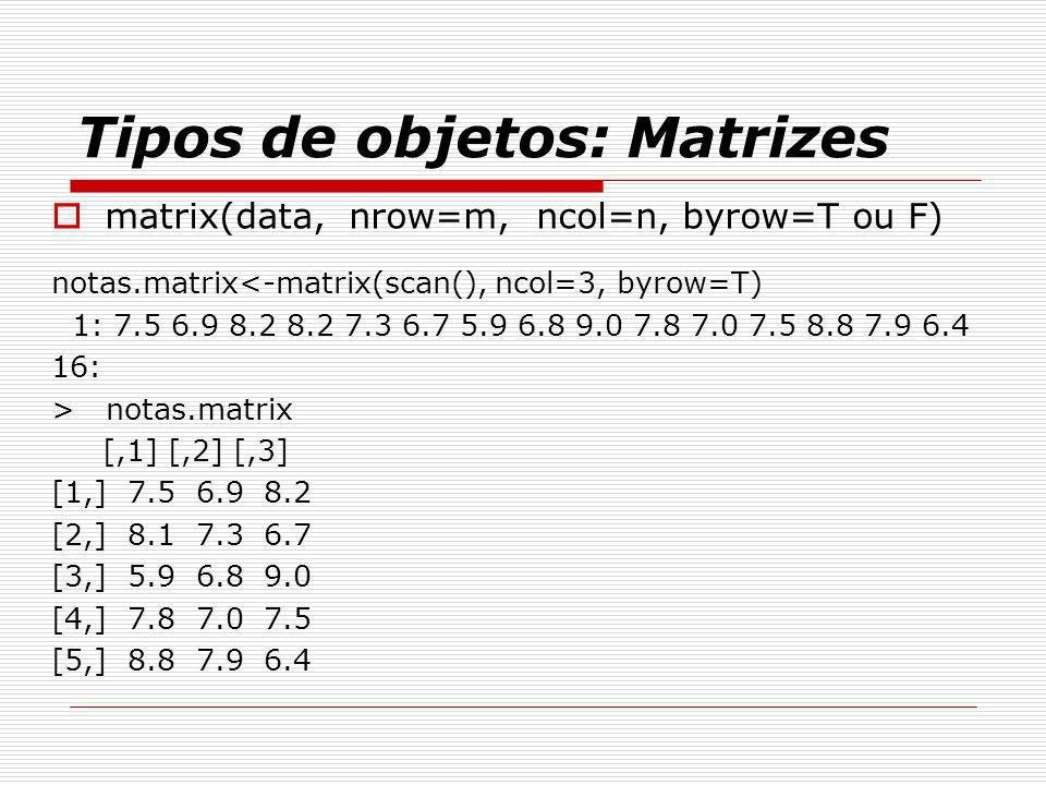 Tipos de objetos: Matrizes