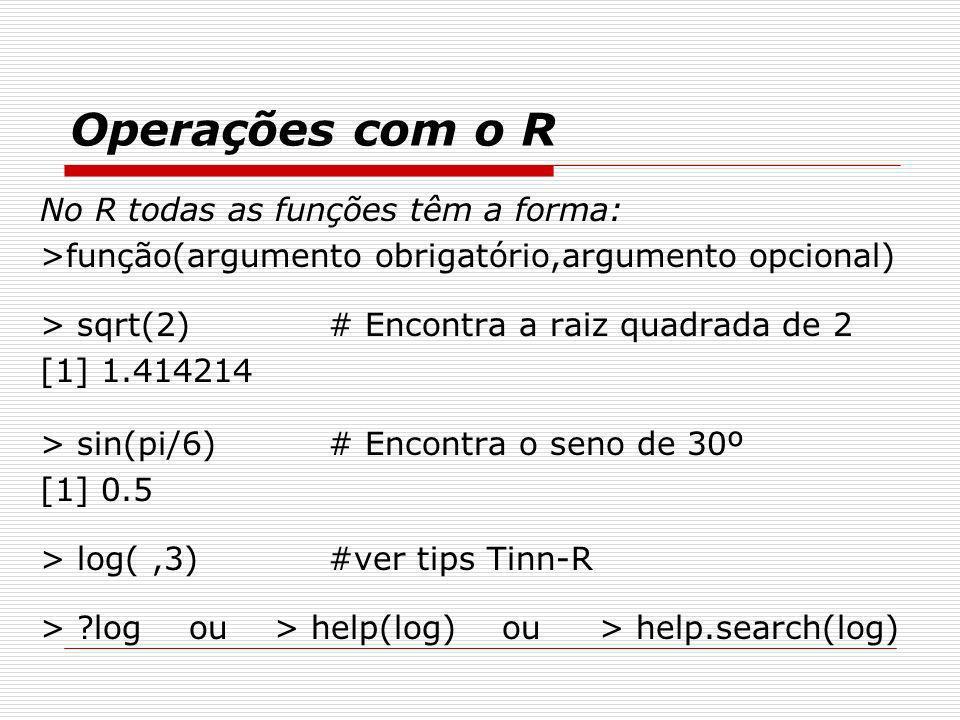 Operações com o R No R todas as funções têm a forma: