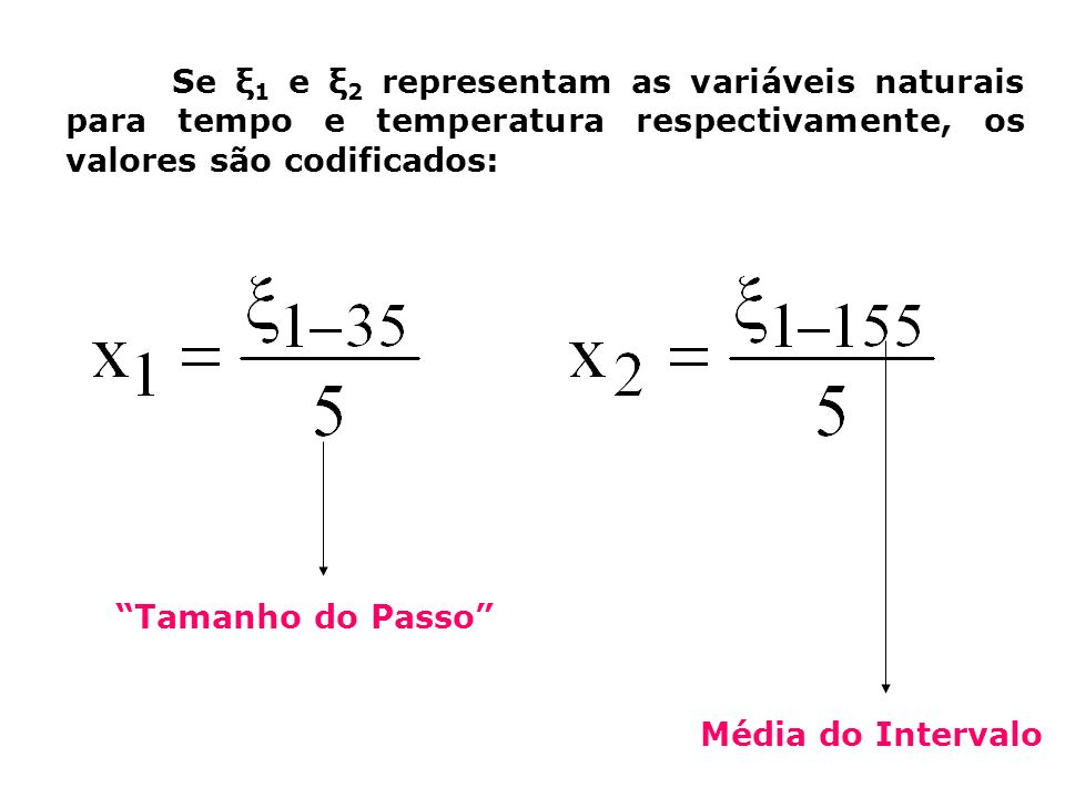 Se ξ1 e ξ2 representam as variáveis naturais para tempo e temperatura respectivamente, os valores são codificados:
