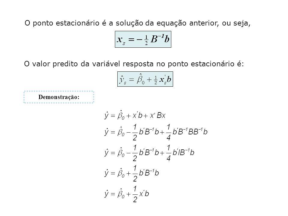 O ponto estacionário é a solução da equação anterior, ou seja,