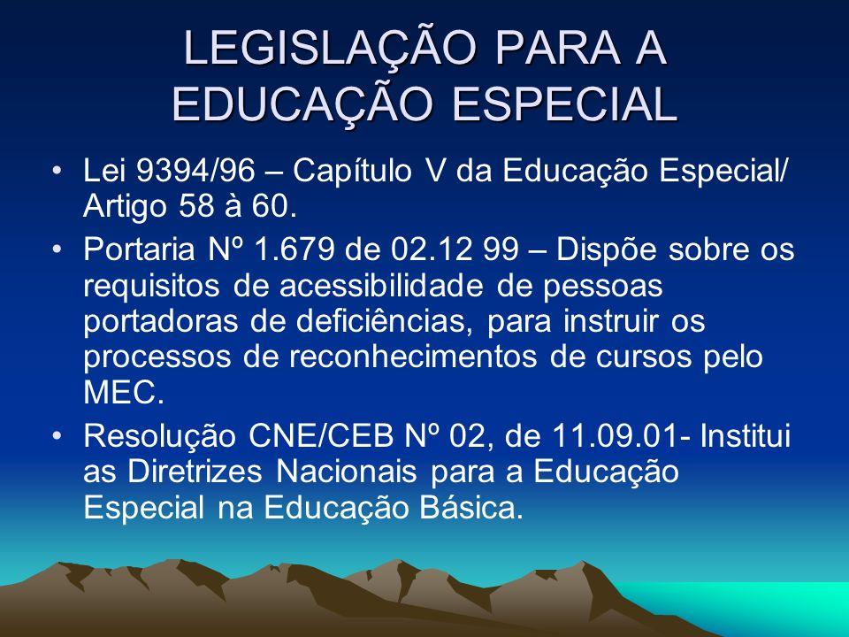 LEGISLAÇÃO PARA A EDUCAÇÃO ESPECIAL