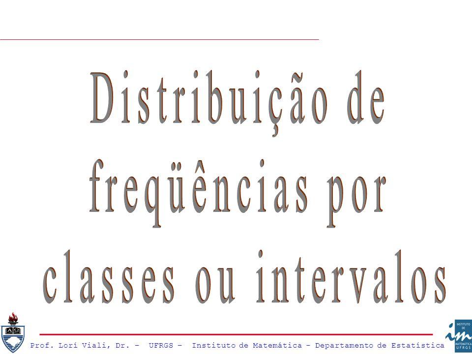 Distribuição de freqüências por classes ou intervalos