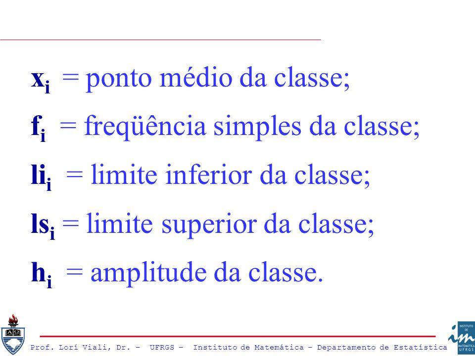 xi = ponto médio da classe;