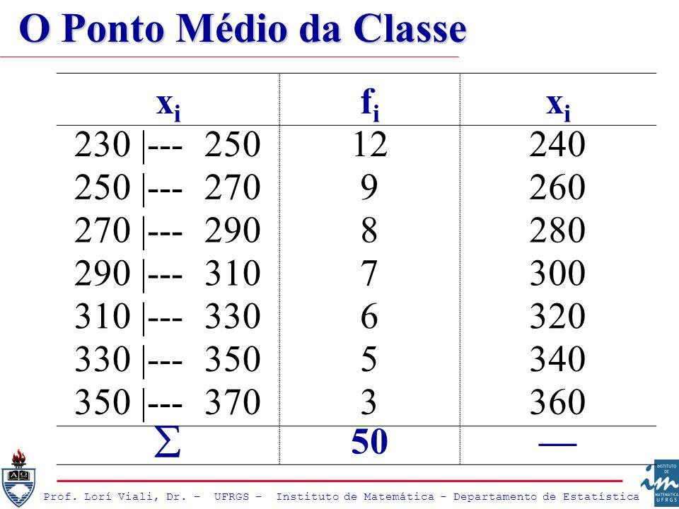 O Ponto Médio da Classe xi fi 230 |--- 250 12 240 250 |--- 270 9 260