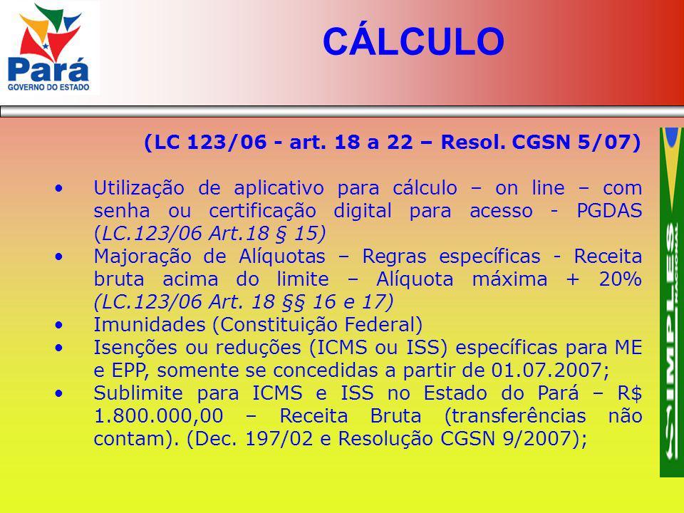 CÁLCULO (LC 123/06 - art. 18 a 22 – Resol. CGSN 5/07)