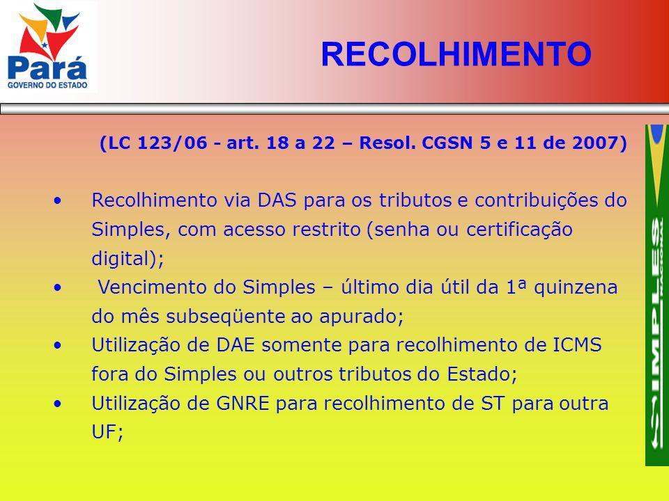RECOLHIMENTO (LC 123/06 - art. 18 a 22 – Resol. CGSN 5 e 11 de 2007)