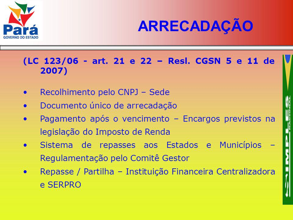 ARRECADAÇÃO (LC 123/06 - art. 21 e 22 – Resl. CGSN 5 e 11 de 2007)