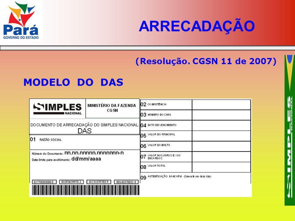 ARRECADAÇÃO (Resolução. CGSN 11 de 2007) MODELO DO DAS