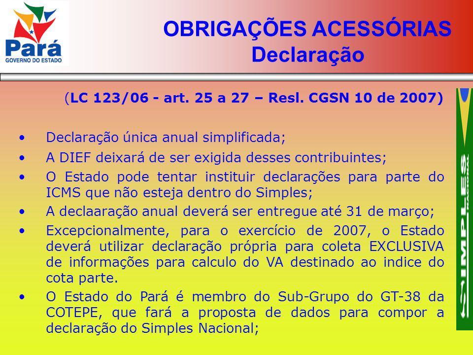 OBRIGAÇÕES ACESSÓRIAS Declaração