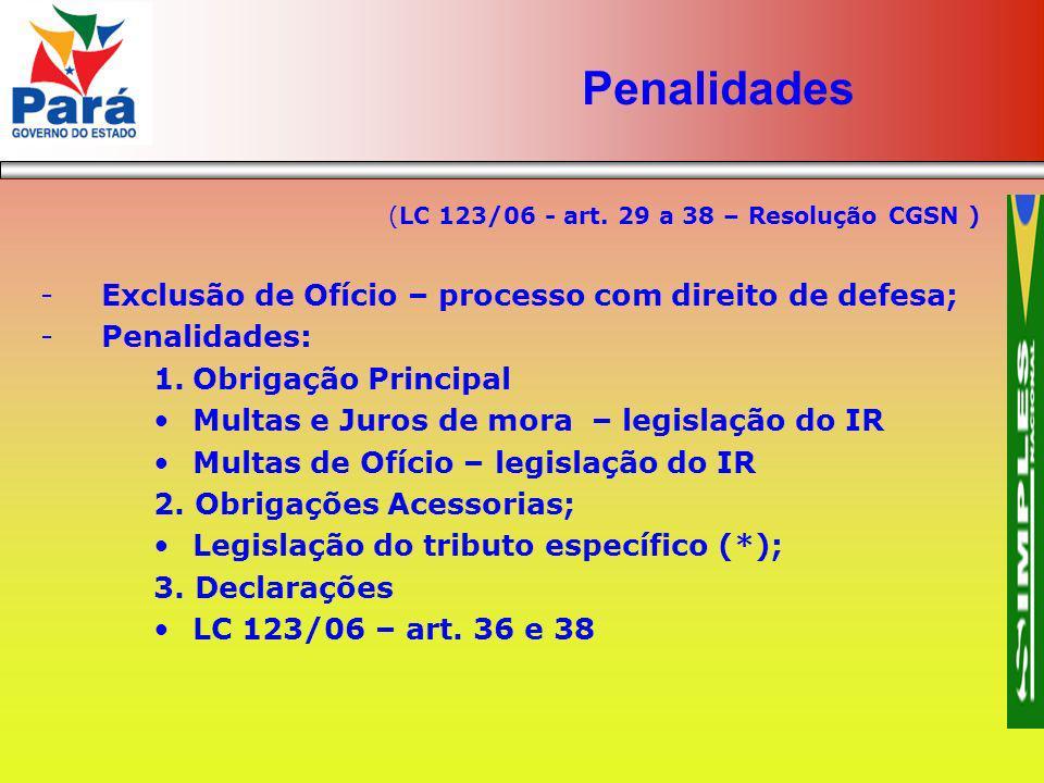 Penalidades Exclusão de Ofício – processo com direito de defesa;