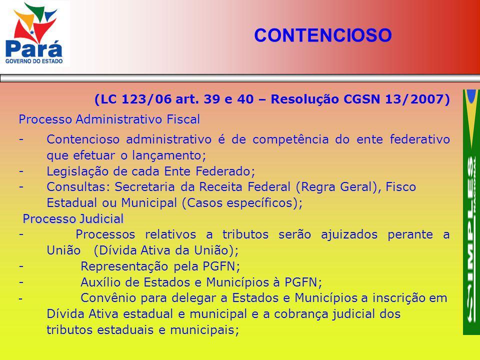CONTENCIOSO (LC 123/06 art. 39 e 40 – Resolução CGSN 13/2007)