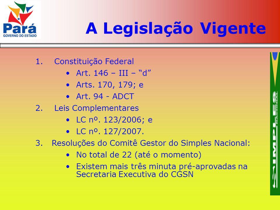 A Legislação Vigente Constituição Federal Art. 146 – III – d