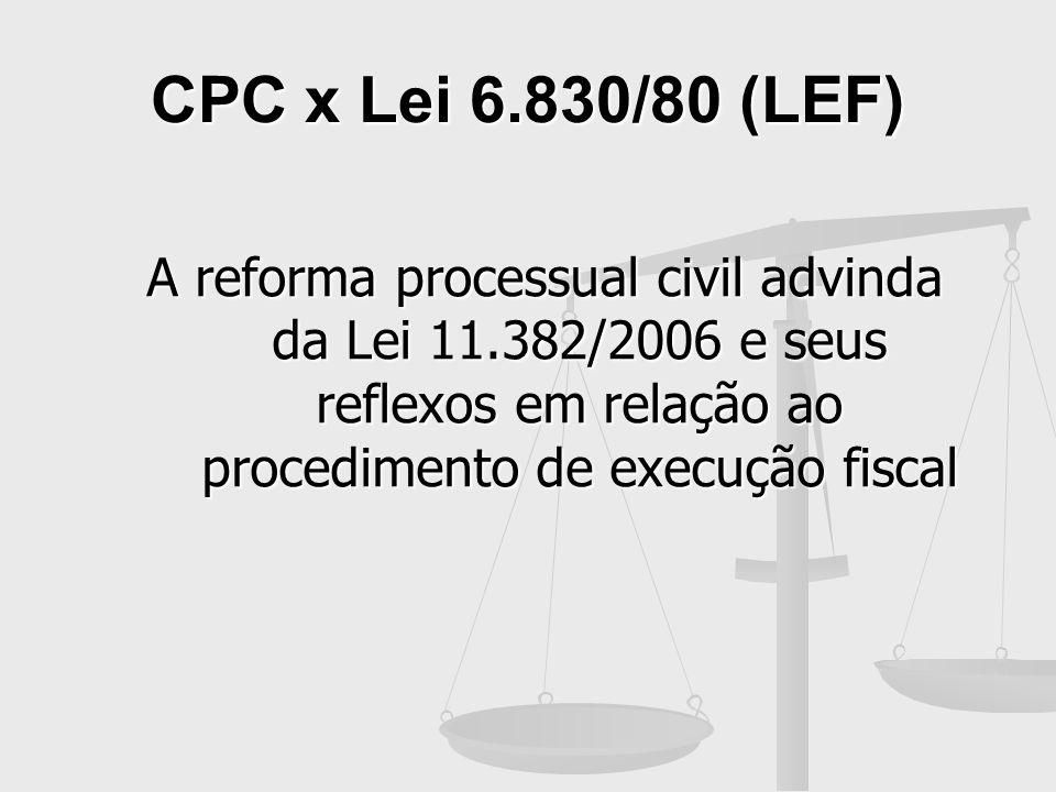 CPC x Lei 6.830/80 (LEF)A reforma processual civil advinda da Lei 11.382/2006 e seus reflexos em relação ao procedimento de execução fiscal.