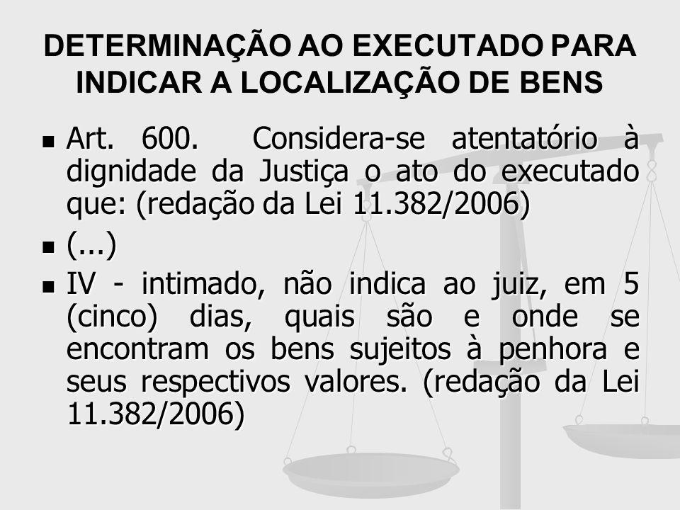DETERMINAÇÃO AO EXECUTADO PARA INDICAR A LOCALIZAÇÃO DE BENS