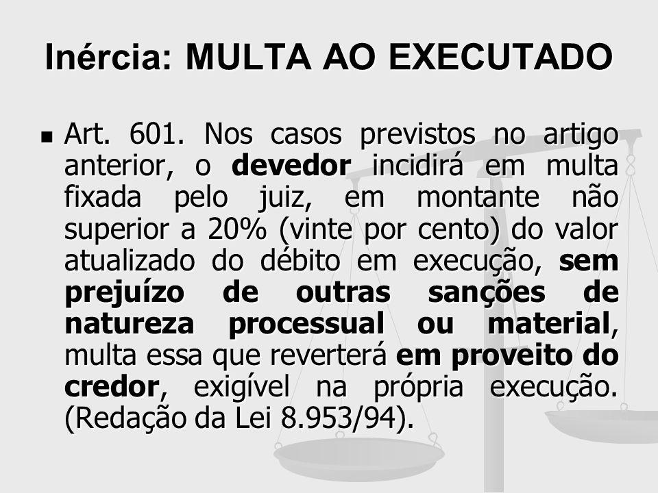 Inércia: MULTA AO EXECUTADO